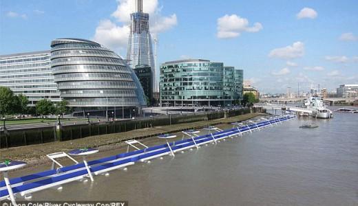 Radweg auf der Themse in London