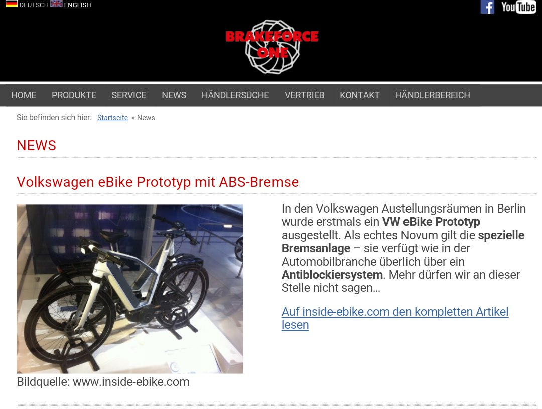 BrakeForceOne VW eBike Antiblockiersystem Screenshot