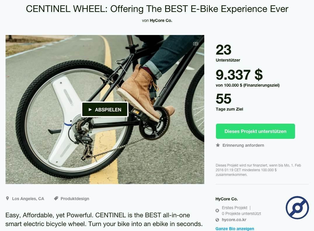 Hycore - Centinel Wheel - zweite Kickstarter Kampagne Dezember 2015