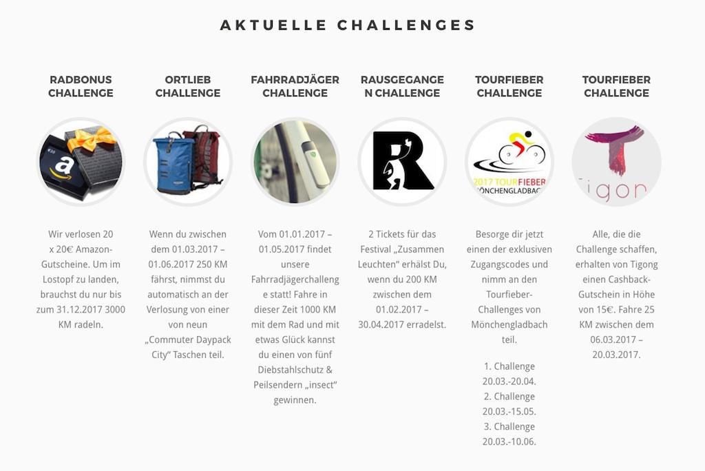 Radbonus - aktuelle Challenges