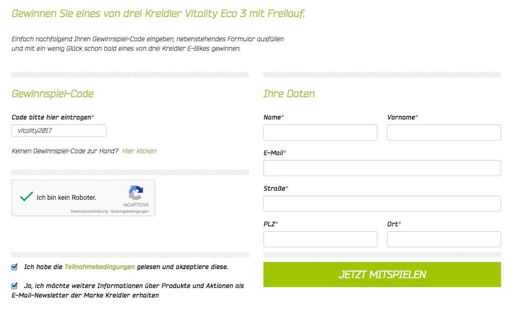 eBike Gewinnspielformular von Kreidler